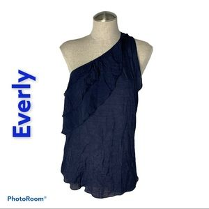 Every Large Ruffle One Shoulder Tank Blue